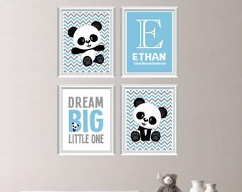 Baby Boy Nursery Art Print - Panda Bear Nursery Prints - Panda Bear Bedroom Art - Nursery Decor - Panda Bear Bedroom Decor (NS-688)