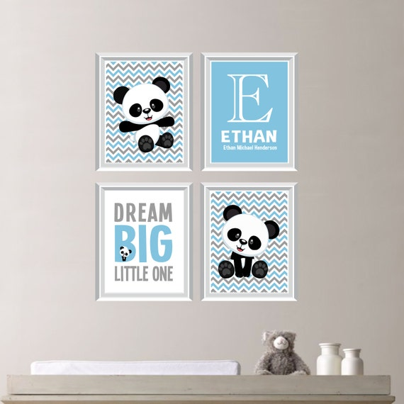 Baby Boy Nursery Art Print Panda Bear Nursery Prints Panda