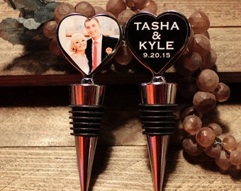 Set of 12 Personalized 2.50 each Wine Bottle Stoppers with Custom Double sided Personalized Wedding Favors