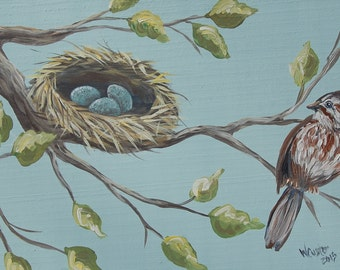 "Bird and Nest Painting - Original Acrylic Painting on 20"" x 11 1/4"" Board"