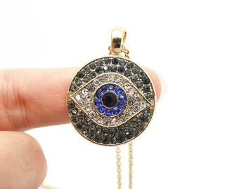 gray/clear/blue/black rhinestone pave evil eye charms turkey rhinestone evil eye beads
