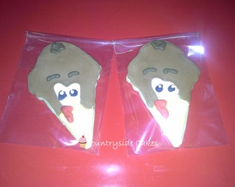 Turkey Head Thanksgiving Decorated Sugar Cookies  -1 dozen