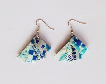 White & blue earrings