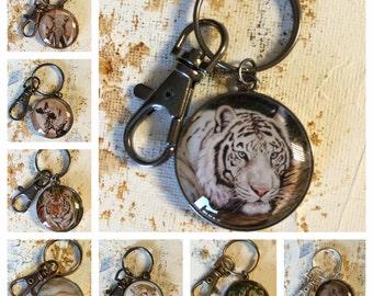 Animal Art cabochon keyring White tiger, Elephant, Wild dog, Orange tiger cub, Baby Sea turtle, Cheetah,  Screech owls, Asian Elephant
