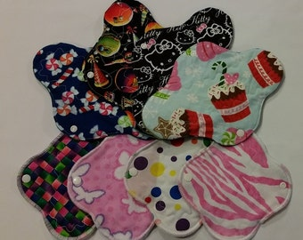 Starter Pack Set of 6 Cotton and Flannel Topped Heavy, Regular, Light/Liner Cloth Pads, Adult Starter Set, Pre-Teen starter pack