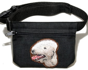Bedlington Terrier embroidered dog treat bag / dog treat pouch. For dog shows, dog walking and training. Great gift for dog lovers.