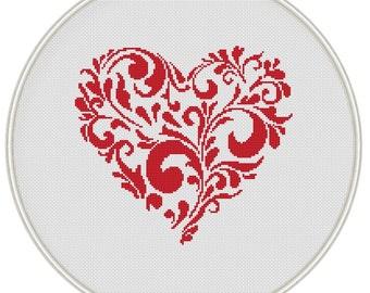Heart cross stitch pattern,  Valentine cross stitch pattern, Instant Download, Free shipping, Cross-Stitch PDF, MCS037