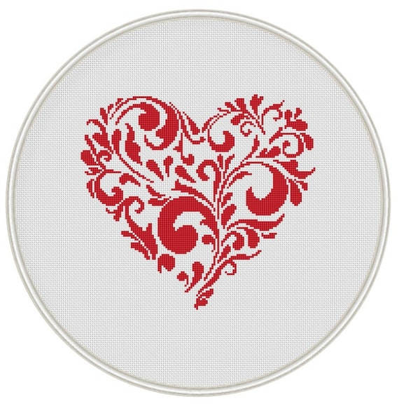 Heart cross stitch pattern,  Valentine cross stitch pattern, Instant Download, Free shipping, Cross-Stitch PDF, MCS037