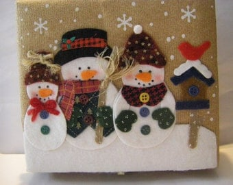 FELT decorated box holding 5 handcrafted ornaments