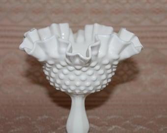 Fenton White Milk Glass  Hobnail Comport on Pedestal  Wedding and Homedecor