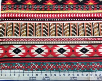 SALE! Emerald Green Red Ethnic Diamond Rows Ponte De Roma Knit Fabric, Rayon Polyester Ponte Knit! 5095