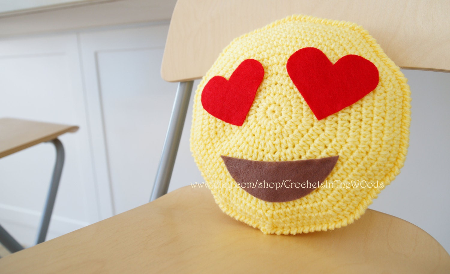 Items similar to Emoji Whatsapp I am in love Crochet Amigurumi Cushion ...
