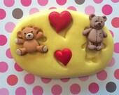 VALENTINES Silicone MOLD - Bear Mold, Heart Mold, Cupcake Decoration, Cupcake Topper, Cake Pops, Macaron, Cake Charms, Gumpaste, Fondant
