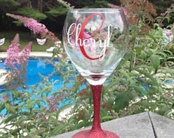 Personalized Wine Glass, glitter stem, Christmas gift, Hostess Gift