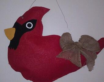 Cardinal Burlap Door Hanger