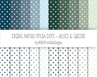 Polka Dots ~ Blues and Greens ~ Scrapbook Digital Papers 12x12; Dotted Seamless Patterns; Scrapbooking; Polka Dots;  INSTANT DOWNLOAD