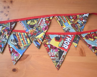 Superhero Banner/ Bunting, Marvel Comic Fabric, Birthday Party, Room Decor, Superhero Party Decoration, Photo Prop