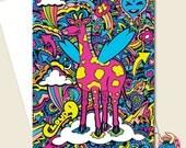 Pink Giraffe. Greetings Card. Giraffe Card. Birthday Card. Pink Bday Card. Animal Card. Card. Cloud 9. Funny Birthday Card. Psychedelic Card