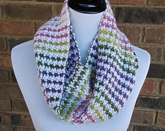 Crochet Infinity Loop Scarf - White/Multicolored - Lightweight