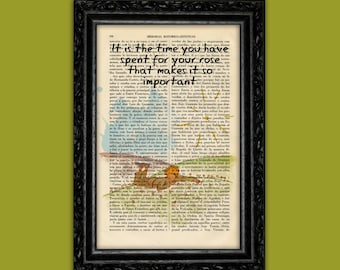 The Little Prince Dictionary Art Book Le Petit Prince Quote Book Original Post recycled art Dorm Room Wall Decor Exupéry Dictionary (Nº3)
