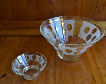 Chip & Dip Bowl Set Vintage G. Reeves, Frosted Glass and Gold