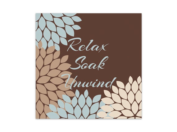 Brown and blue bathroom decor bathroom wall art relax soak for Blue brown bathroom decor