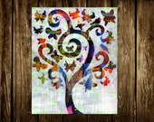 Tree of Life wall art, Mothers day gift ideas, Wedding gift, Painting of a tree, bohemian decor, mixed media collage art, Butterfly painting