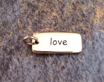 Love Charm, Love Tag, Bronze Love Charm, Bronze Love Tag, Love Pendant, I Love You Charm, Valentines Day