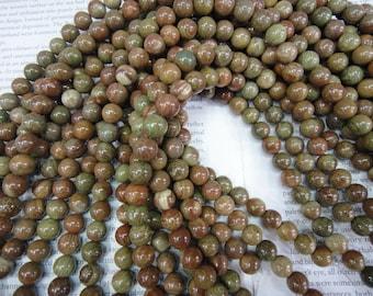"10mm, Chinese unakite beads, pale pink green beads, 16"" long."