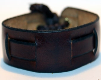 Brown Leather Cuff Bracelet! Nice gift for women! Made in Latvia! Unique item! Best gift! SALE!