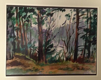 Russian nature aquarelle print art painting