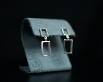 The 1975 Inspired Double Dangle Rectangle Earrings