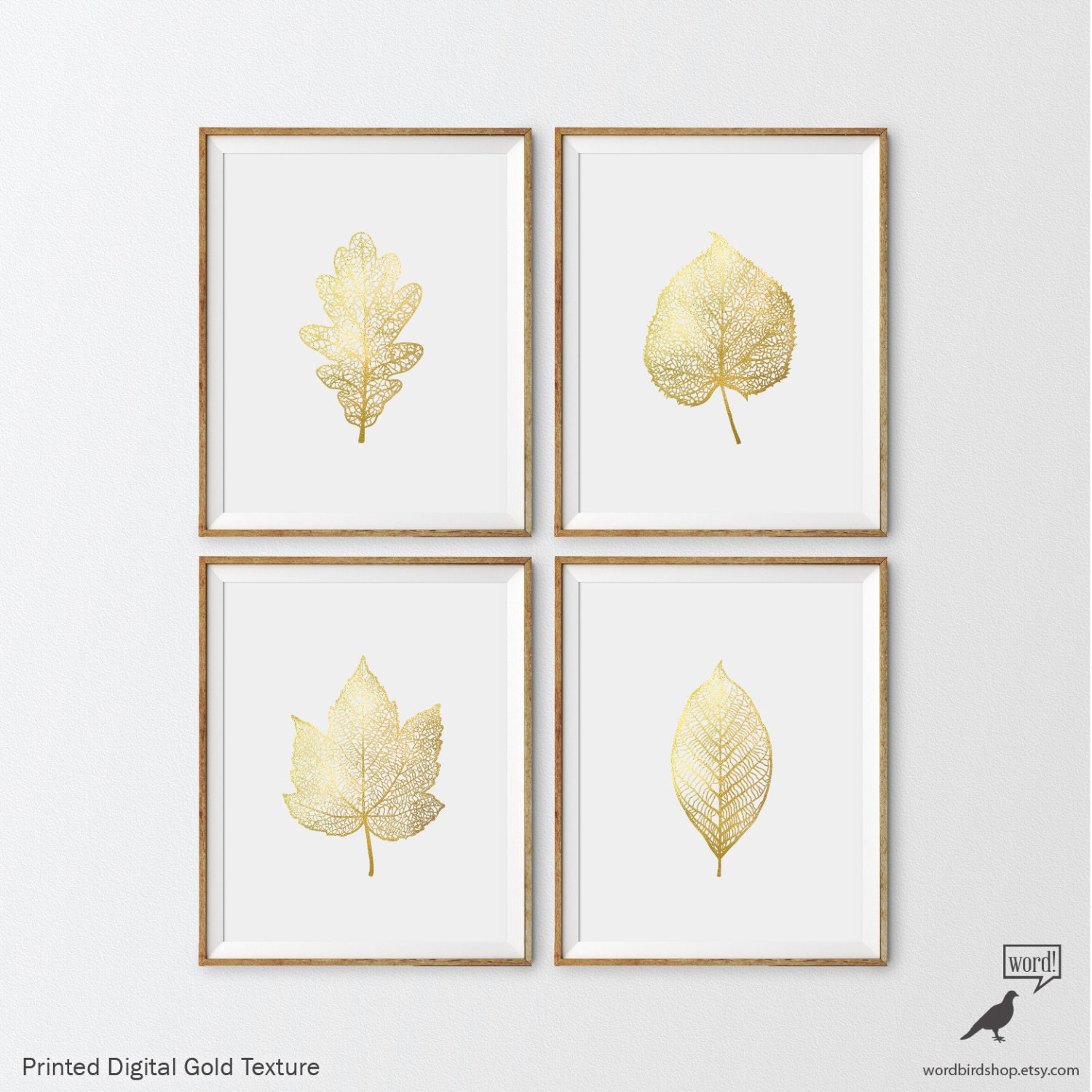Matte Gold Foliage Prints 4 Set Botanical Prints Nursery Art