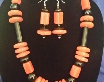 Cherry Quartz / Black Onyx Necklace & Earring Set