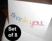 Set of 8 Rainbow Thank You Cards