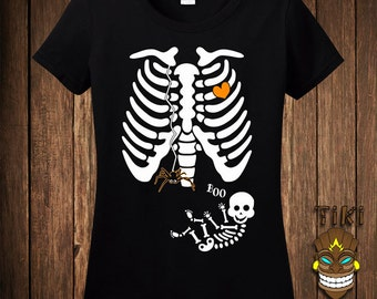 Funny Pregnant Skeleton Spider Web Halloween Costume T-shirt Tee Shirt Pregnancy Maternity Trick Or Treat Party Holiday Womens Ladies