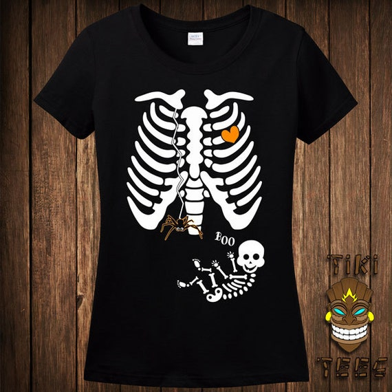 lustige schwanger skelett spider web halloween kost m t shirt. Black Bedroom Furniture Sets. Home Design Ideas