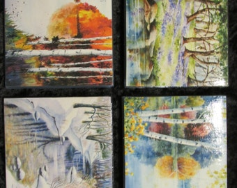 The Four Seasons themed tile coasters with cork backing.