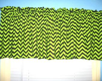 100% Cotton Handmade Green Black Chevron Zigzag Striped Window Curtain Valance