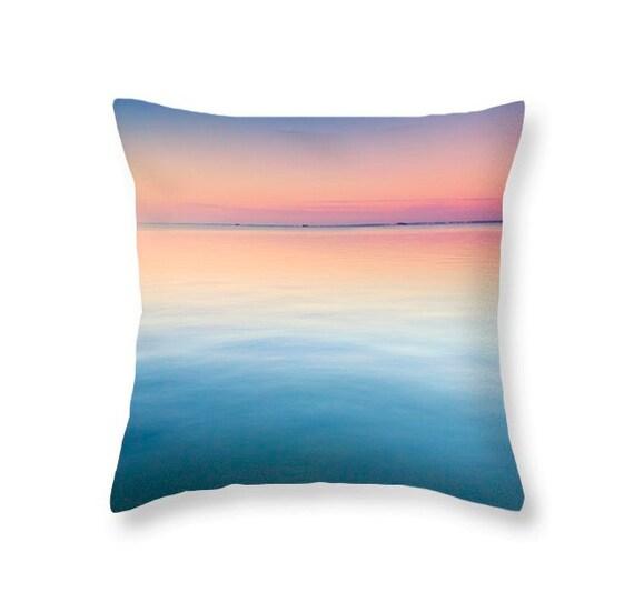 Ocean Blue Decorative Pillows : Ocean throw pillow- ocean blue pink sunset pillow. Beach and Ocean home decor - decorative ...