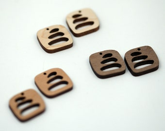 2 Tri-Pebble Stack Beads : Cherry, Maple or Walnut