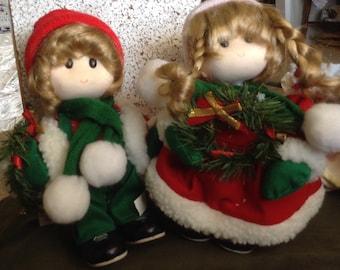 Girl Boy Christmas Carolers Music box
