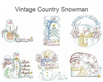 Vintage Country Snowman Machine Embroidery Designs Instant Download 4x4 5x5 6x6 hoop 12 designs APE2104
