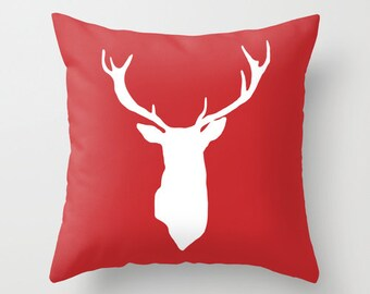 Deer Pillow Cover - Holiday Decor - Christmas Accent Pillow - Reindeer Decorative Pillow - Christmas Decor