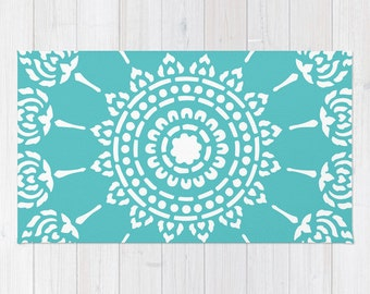 Medallion Area Rug - Mandala Area Rug - Turquoise Area Rug - Modern Decor - Bedroom Decor - Office Decor - Blue Area Rug - Aldari Home