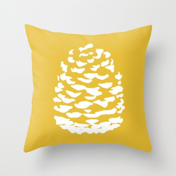Modern Pinecone Throw Pillow Cover Mustard Yellow Fall