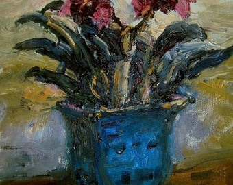 """Purple orchids. Original oil on canvas panel by Maiga 11"""" x 14""""."""