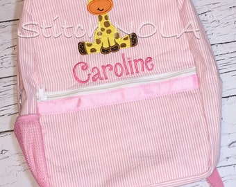 Seersucker Backpack with Girl Giraffe with Bow, Seersucker Diaper Bag, Seersucker School Bag, Seersucker Bag, Diaper Bag, School Bag, Book B
