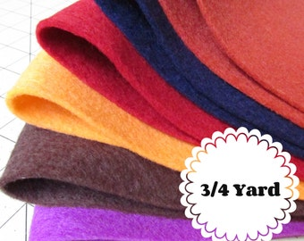 3/4 Yard 100% Merino Wool Felt - Cut to order - You Choose Color
