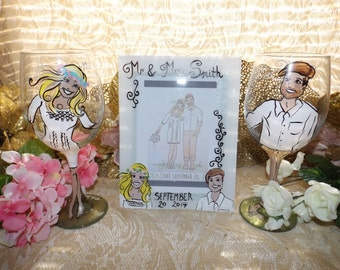 Hand painted wine glasses, wedding, portrait, bride and groom, with free matching photo frame
